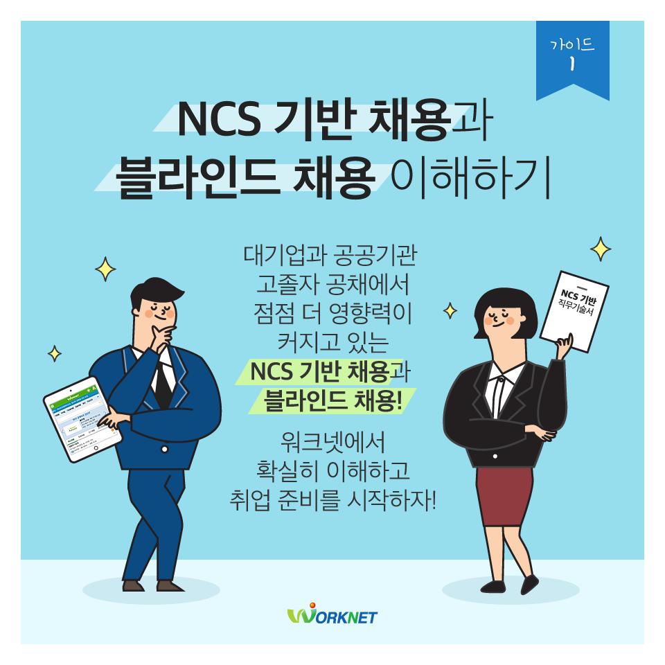 NCS 기반 채용과 블라인드 채용 이해하기.  대기업과 공공기관, 고졸자 공채에서 점점 더 영향력이 커지고 있는 NCS 기반 채용과 블라인드 채용! 워크넷에서 확실히 이해하고 취업 준비를 시작하자!